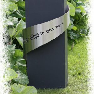Rvs tekstband met mat Zwart graniet